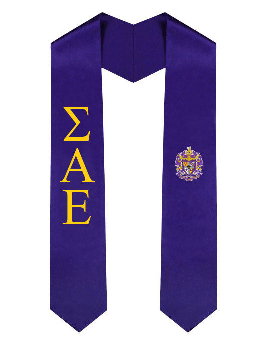 Sigma Alpha Epsilon Lettered Graduation Sash Stole with Crest