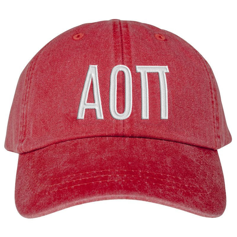 Alpha Omicron Pi Greek Letter Embroidered Hat