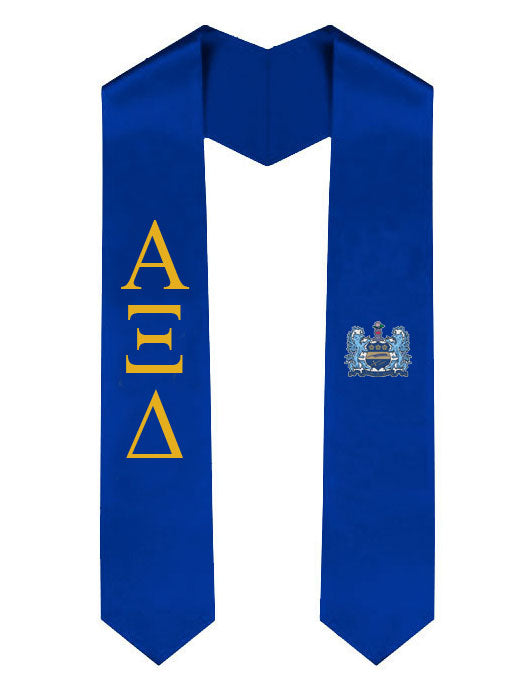 Alpha Xi Delta Lettered Graduation Sash Stole with Crest