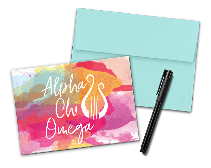 Alpha Chi Omega Sorority Watercolor Notecards (6)