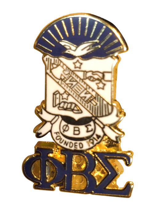Phi Beta Sigma Shield With Greek Letters Pin
