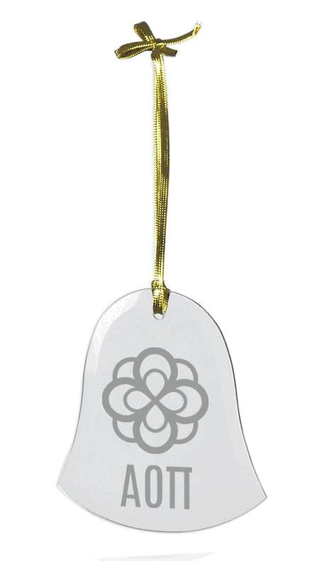 Alpha Omicron Pi Glass Bell Ornament