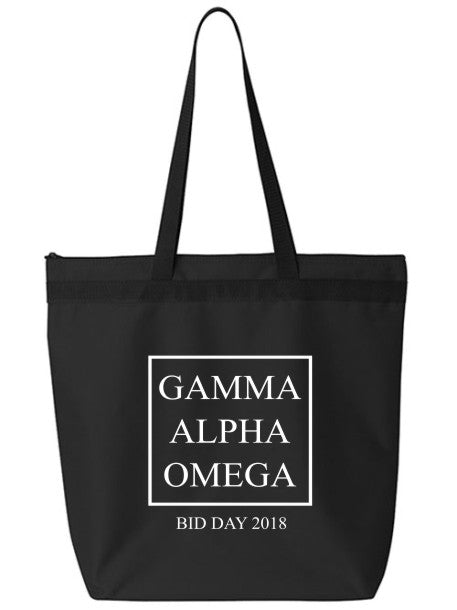 Gamma Alpha Omega Box Stacked Event Tote Bag