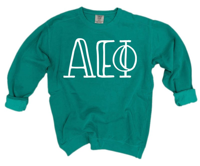 Alpha Epsilon Phi Comfort Colors Greek Letter Sorority Crewneck Sweatshirt