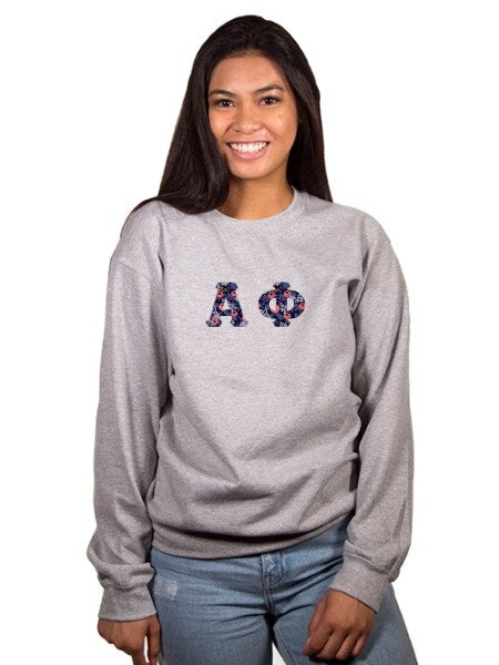 Alpha Phi Crewneck Sweatshirt with Sewn-On Letters