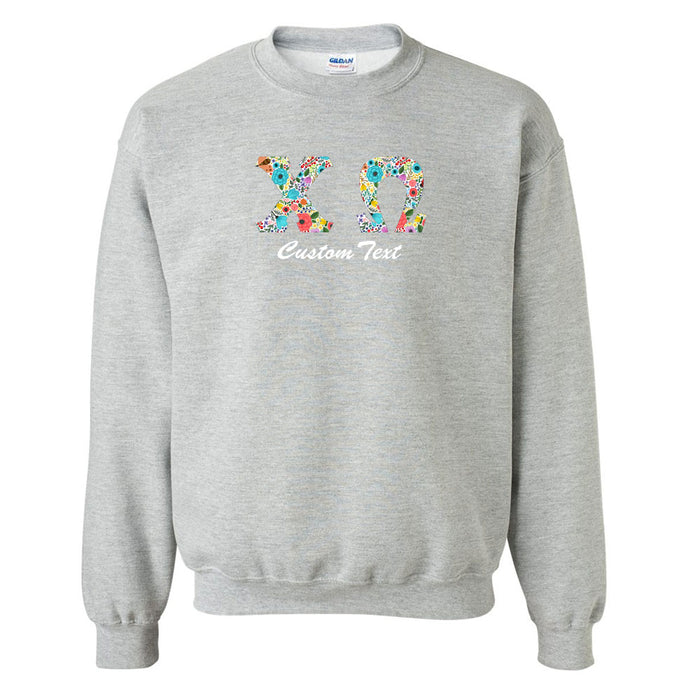 Chi Omega Crewneck Letters Sweatshirt with Custom Embroidery