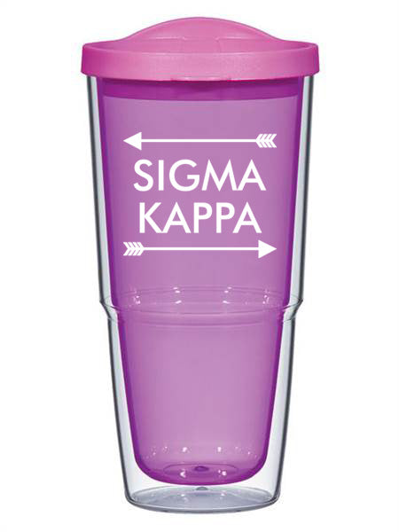 Sigma Kappa Arrow Top Bottom 24oz Tumbler with Lid