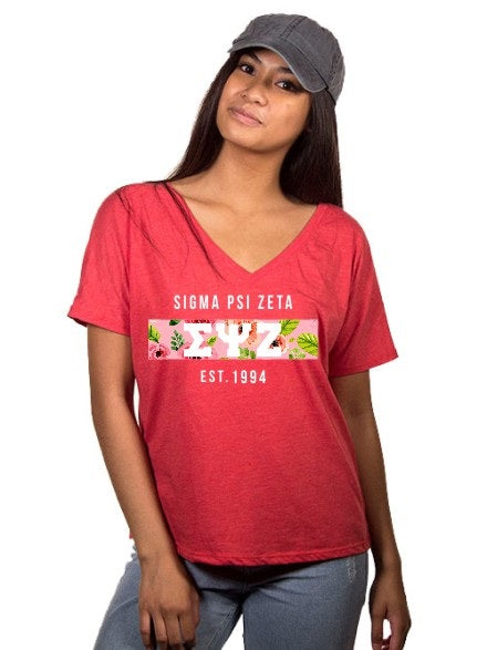 Sigma Psi Zeta Floral Letter Box Slouchy V-Neck Tee