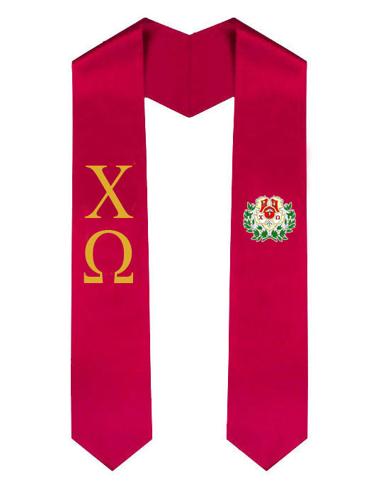 Chi Omega Lettered Graduation Sash Stole with Crest