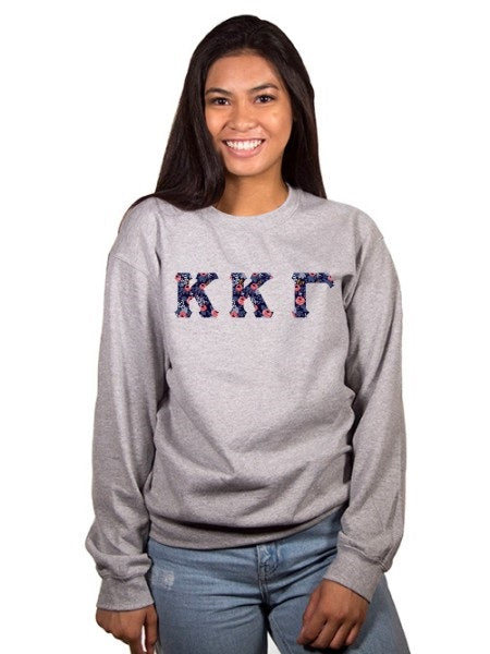 Kappa Kappa Gamma Crewneck Sweatshirt with Sewn-On Letters