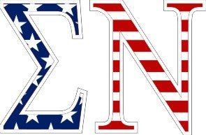 Sigma Nu American Flag Letter Sticker - 2.5
