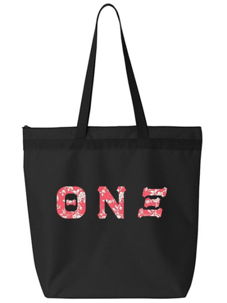 Theta Nu Xi Large Zippered Tote Bag with Sewn-On Letters