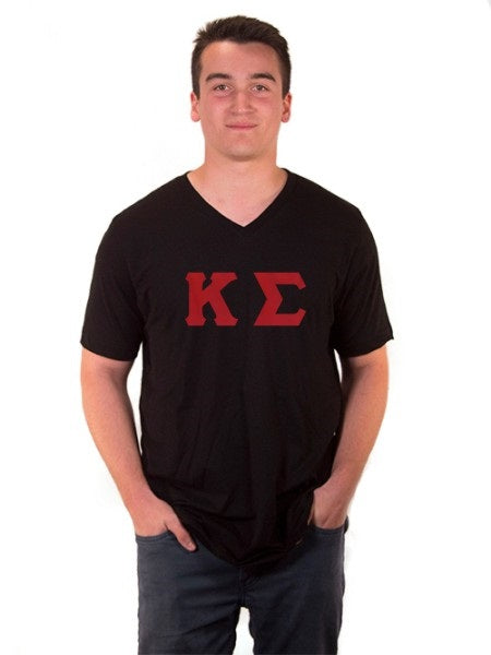 Kappa Sigma V-Neck T-Shirt with Sewn-On Letters