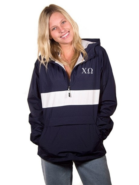 Chi Omega Embroidered Zipped Pocket Anorak