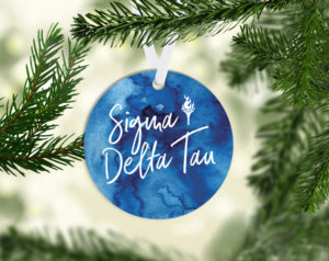 Sigma Delta Tau Round Acrylic Watercolor Ornament