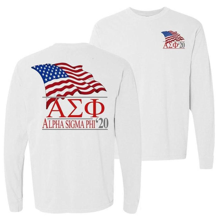 Alpha Sigma Phi Patriot Flag Comfort Colors Long Tee