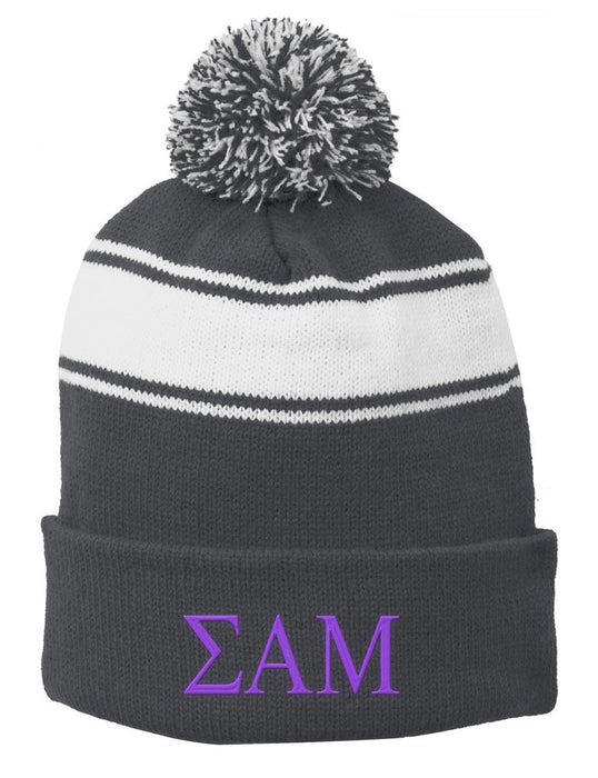 Sigma Alpha Mu Embroidered Pom Pom Beanie