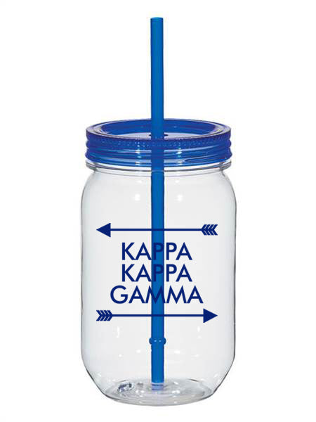 Kappa Kappa Gamma Arrow Top Bottom 25oz Mason Jar
