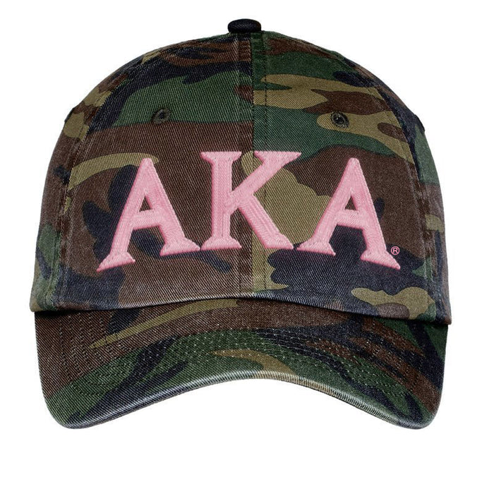 Alpha Kappa Alpha Letters Embroidered Camouflage Hat
