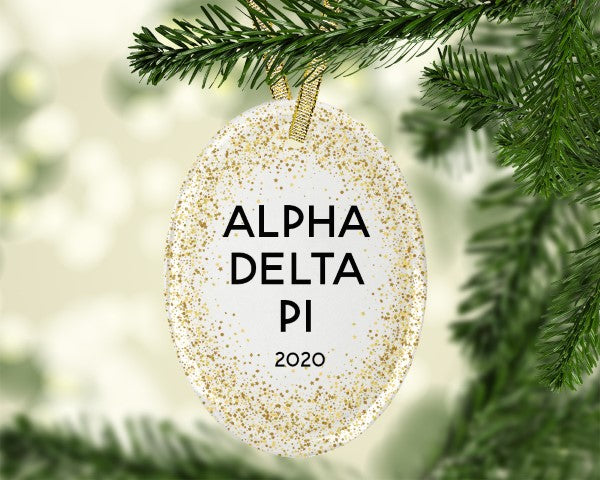 Alpha Delta Pi Gold Speckled Glass Ornament