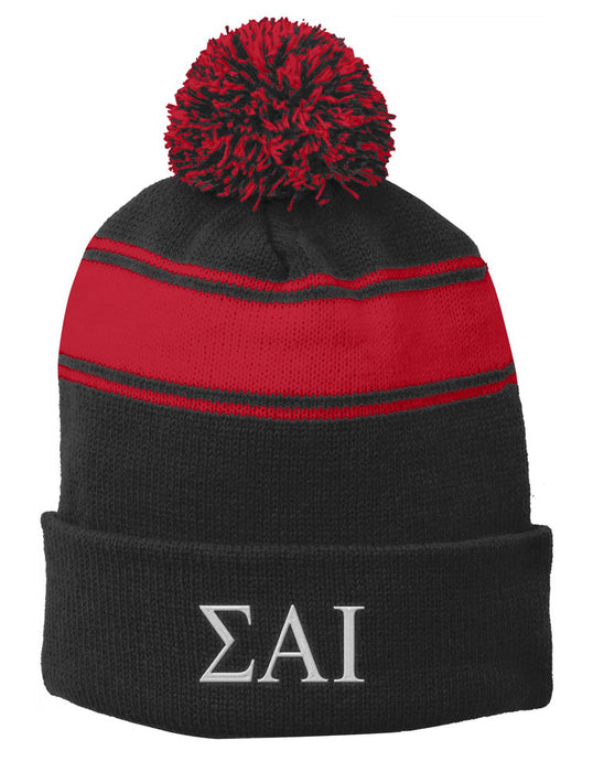 Sigma Alpha Iota Embroidered Pom Pom Beanie