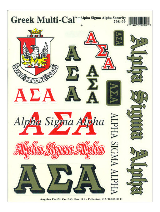 Alpha Sigma Alpha Multi Greek Decal Sticker Sheet