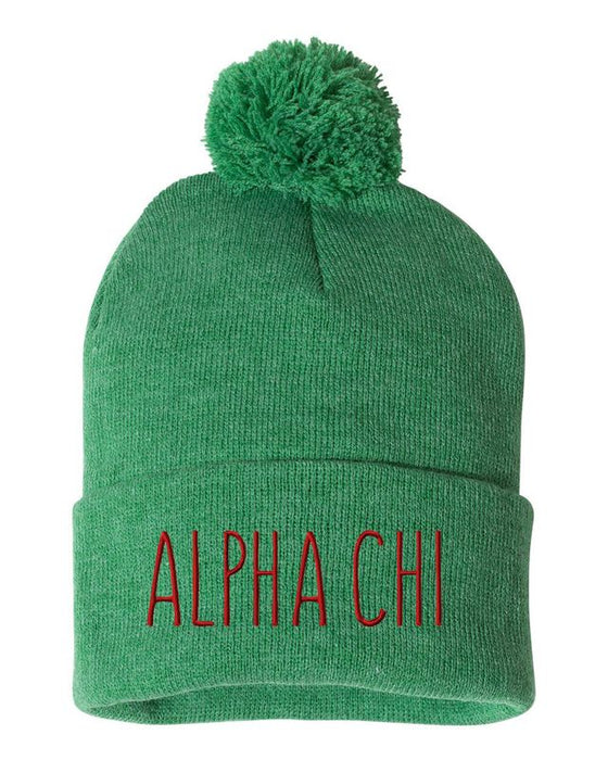 Alpha Chi Omega Sorority Beanie With Pom Pom
