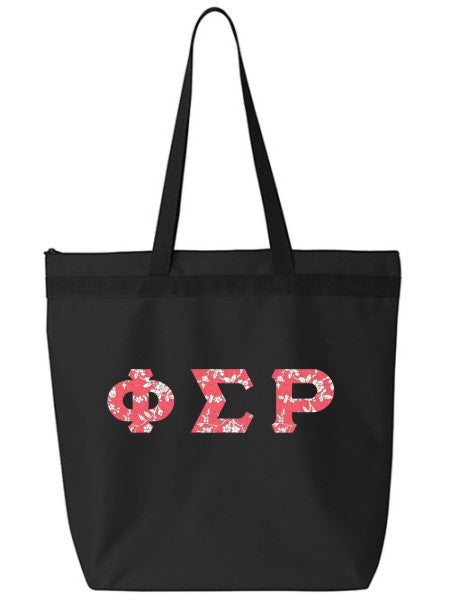 Phi Sigma Rho Large Zippered Tote Bag with Sewn-On Letters