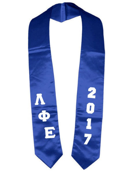 Lambda Phi Epsilon Slanted Grad Stole with Letters & Year