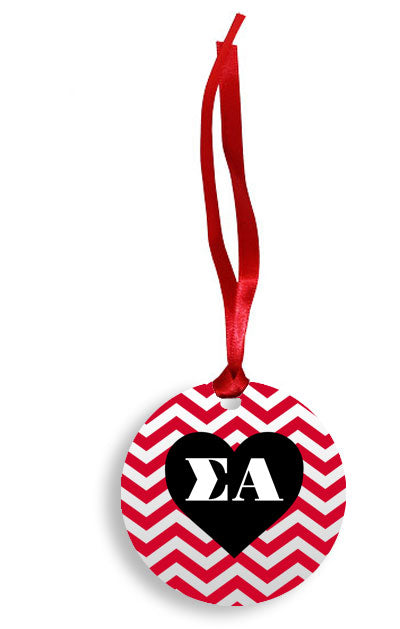Sigma Alpha Red Chevron Heart Sunburst Ornament