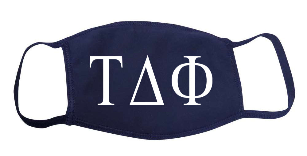 Tau Delta Phi Face Mask With Big Greek Letters
