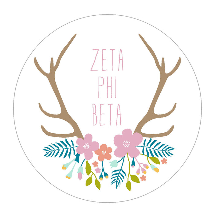 Zeta Phi Beta Floral Antler Sticker