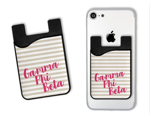 Gamma Phi Beta Sorority Stripes Caddy Phone Wallet