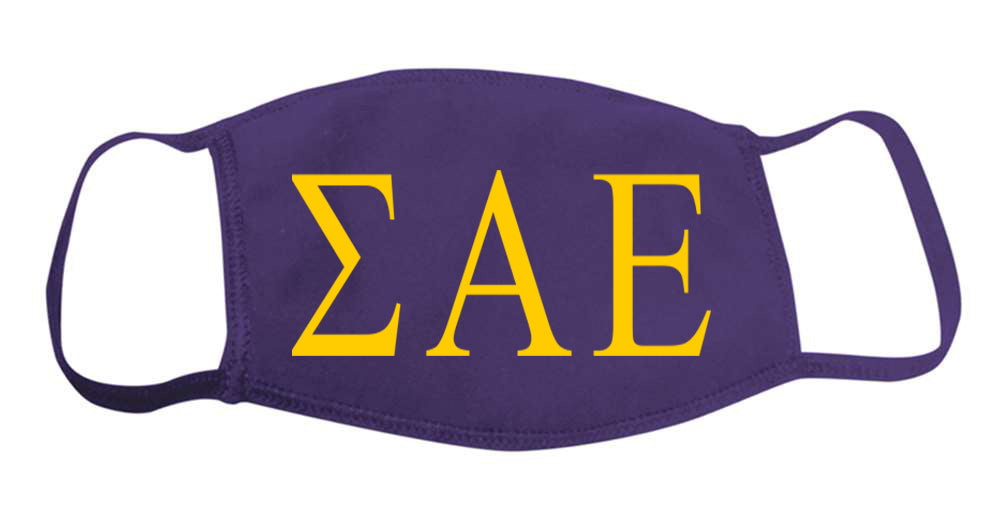 Sigma Alpha Epsilon Face Mask With Big Greek Letters