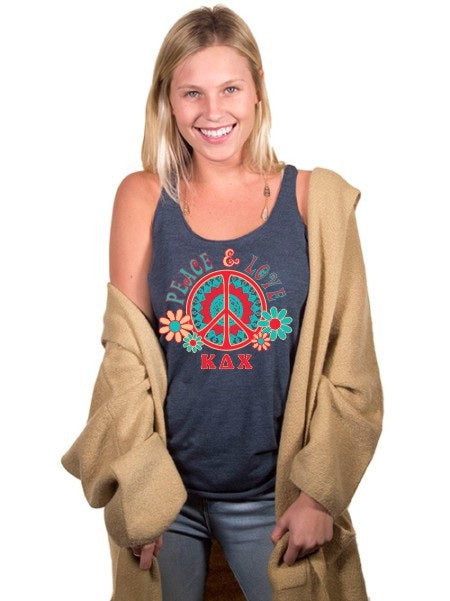 Kappa Delta Chi Peace Sign Triblend Racerback Tank