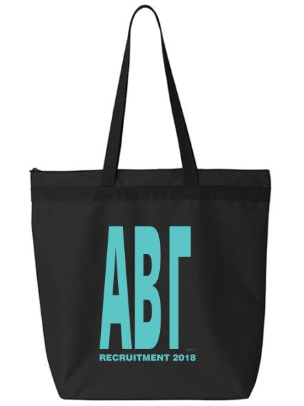 Sorority Impact Letters Zippered Poly Tote