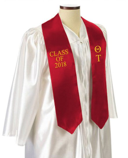 Theta Tau Classic Colors Embroidered Grad Stole