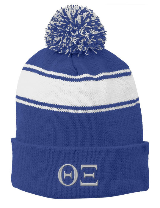 Theta Xi Embroidered Pom Pom Beanie