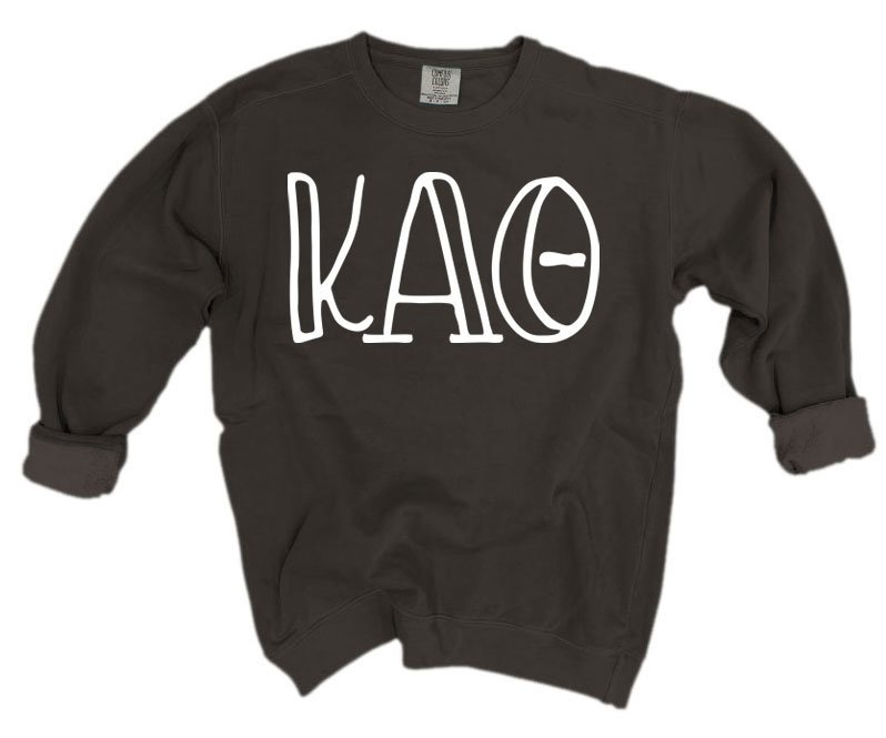Kappa Alpha Theta Comfort Colors Greek Letter Sorority Crewneck Sweatshirt