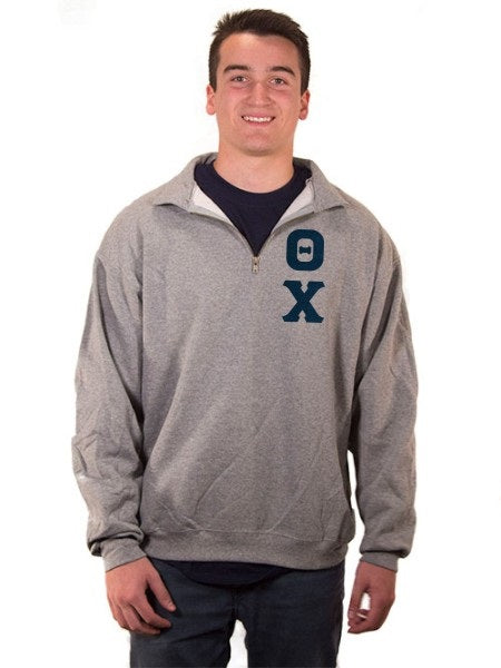 Theta Chi Quarter-Zip with Sewn-On Letters