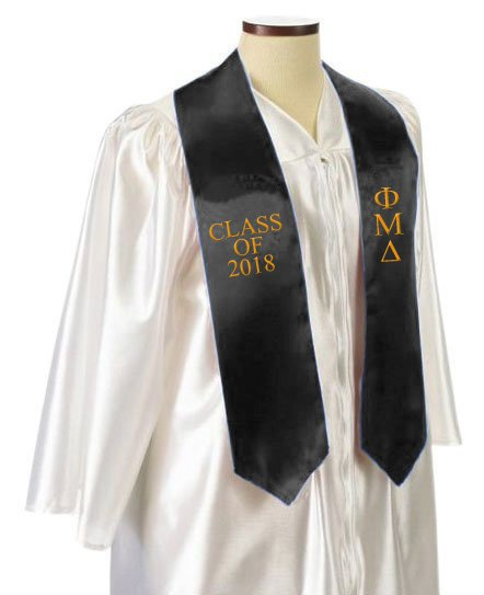 Phi Mu Delta Classic Colors Embroidered Grad Stole