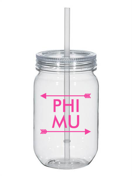 Phi Mu Arrow Top Bottom 25oz Mason Jar