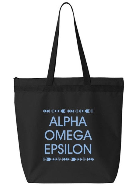 Alpha Omega Epsilon Arrow Top Bottom Tote Bag
