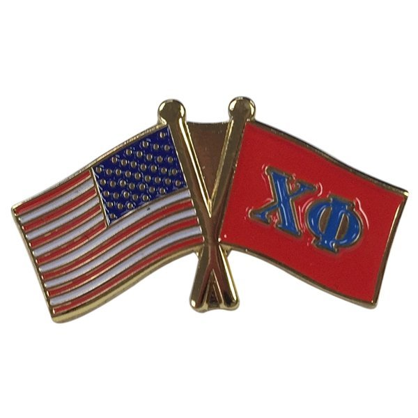 Chi Phi Fraternity Flag Pin