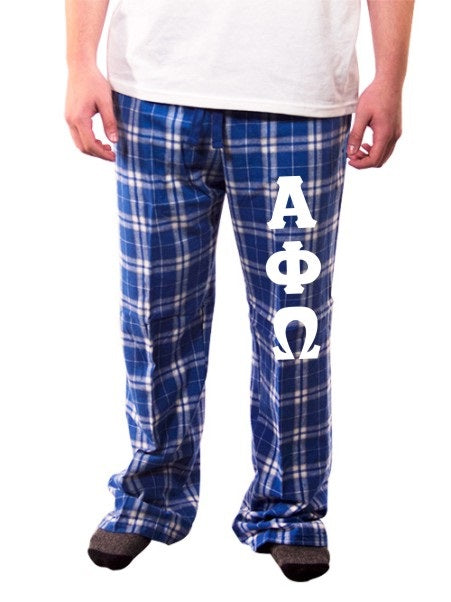 Alpha Phi Omega Pajama Pants with Sewn-On Letters