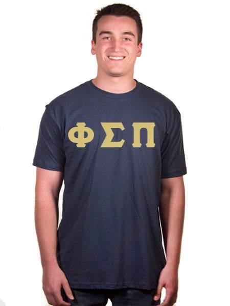 Phi Sigma Pi Short Sleeve Crew Shirt with Sewn-On Letters