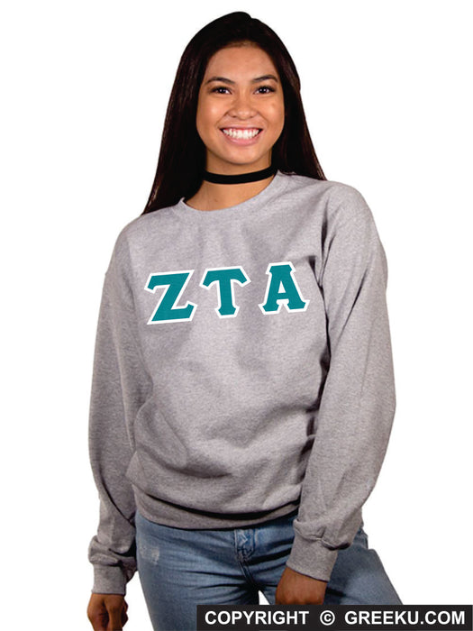 Zeta Tau Alpha Classic Colors Sewn-On Letter Crewneck