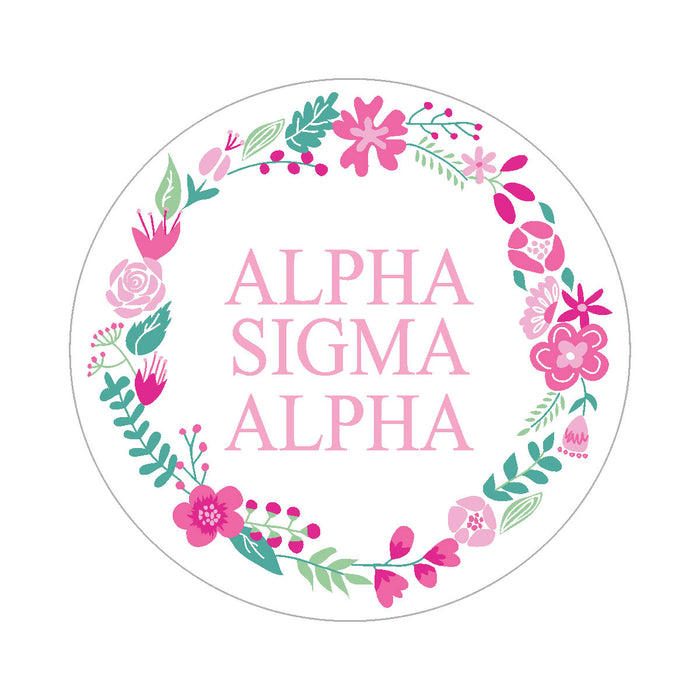 Alpha Sigma Alpha Floral Wreath Sticker