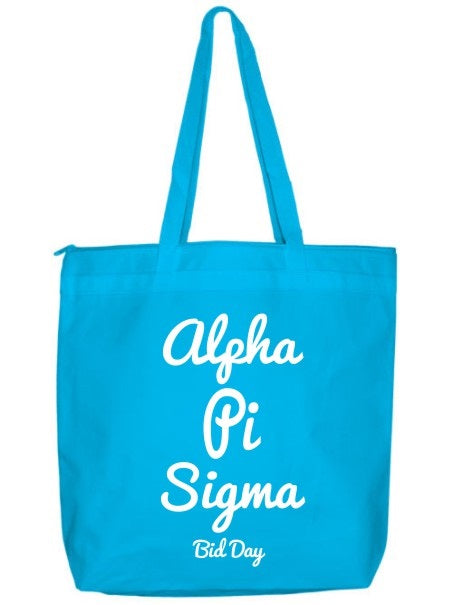 Alpha Pi Sigma Zippered Poly Tote