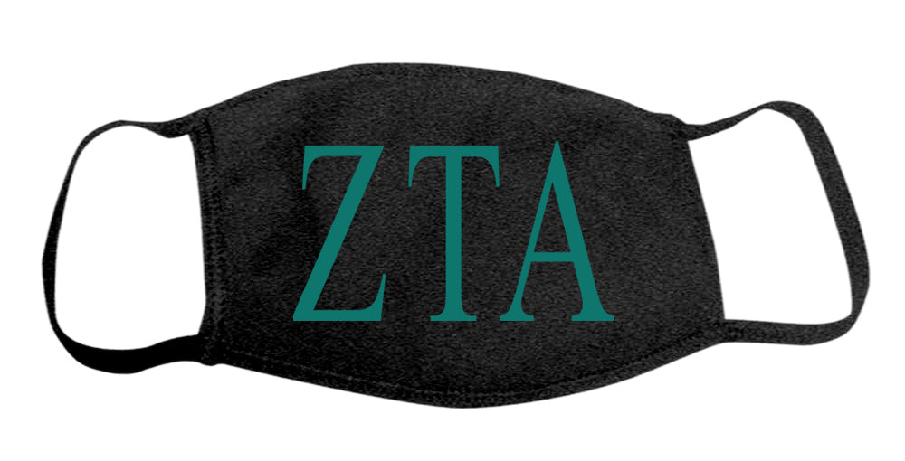 Zeta Tau Alpha Face Mask With Big Greek Letters